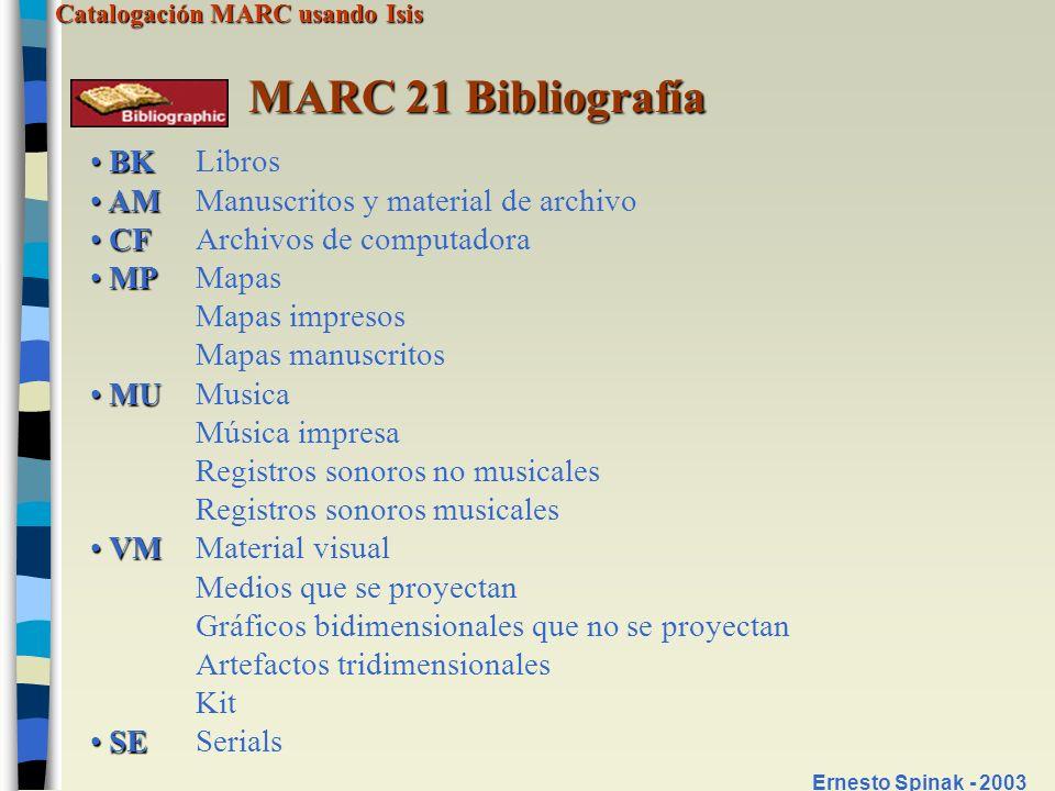 MARC 21 Bibliografía BK Libros AM Manuscritos y material de archivo