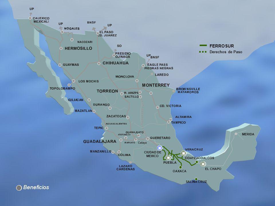 Beneficios FERROSUR Derechos de Paso MERIDA CIUDAD DE MEXICO EL CHAPO