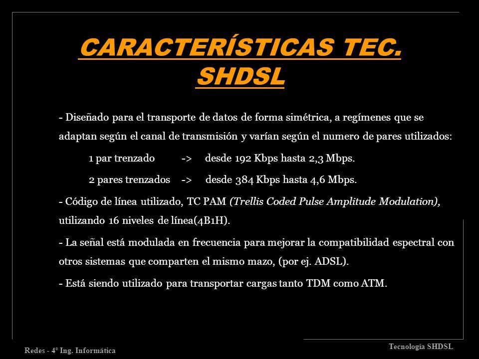 CARACTERÍSTICAS TEC. SHDSL