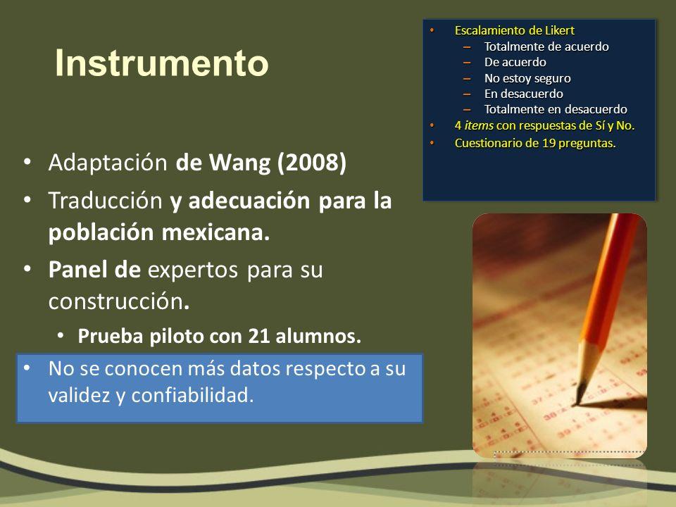 Instrumento Adaptación de Wang (2008)