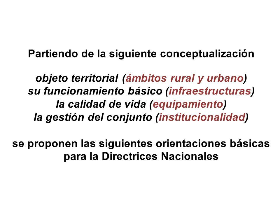 Partiendo de la siguiente conceptualización objeto territorial (ámbitos rural y urbano) su funcionamiento básico (infraestructuras) la calidad de vida (equipamiento) la gestión del conjunto (institucionalidad) se proponen las siguientes orientaciones básicas para la Directrices Nacionales
