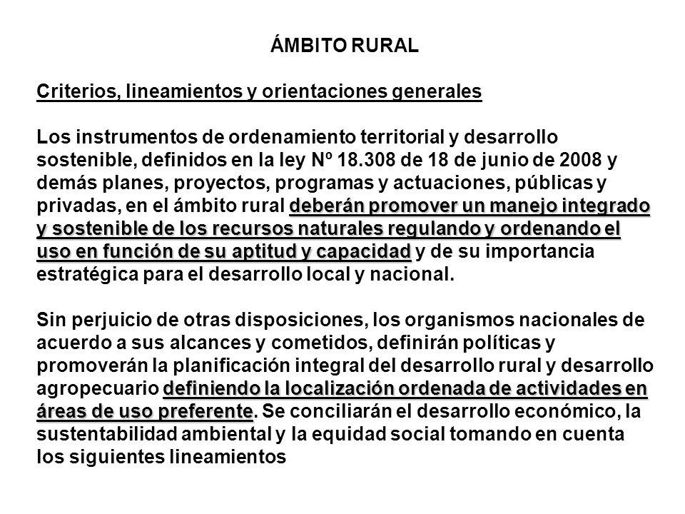 ÁMBITO RURAL Criterios, lineamientos y orientaciones generales.