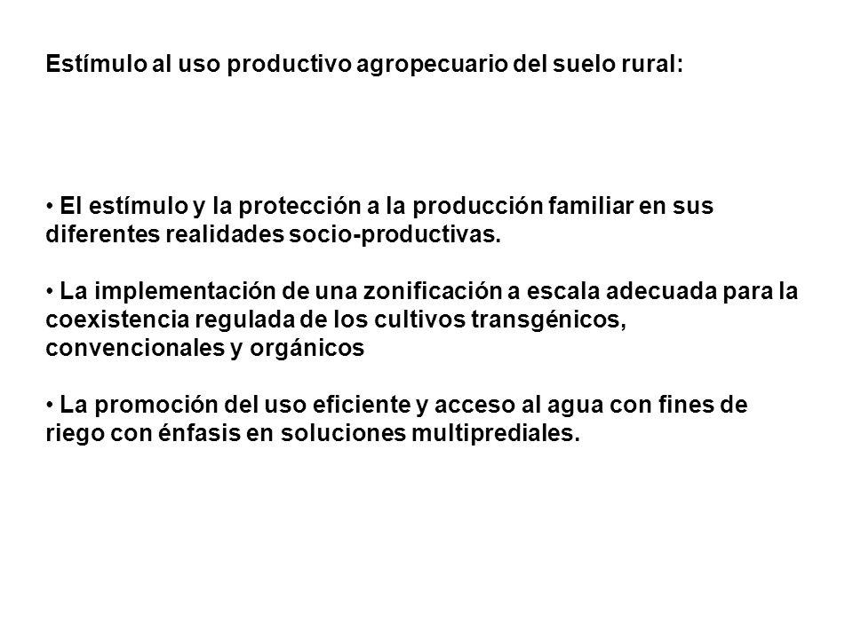 Estímulo al uso productivo agropecuario del suelo rural: