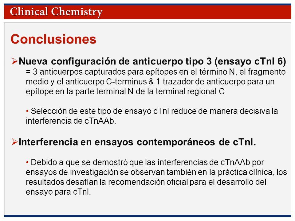 Conclusiones Nueva configuración de anticuerpo tipo 3 (ensayo cTnI 6)