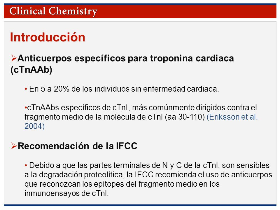 Introducción Anticuerpos específicos para troponina cardiaca (cTnAAb)