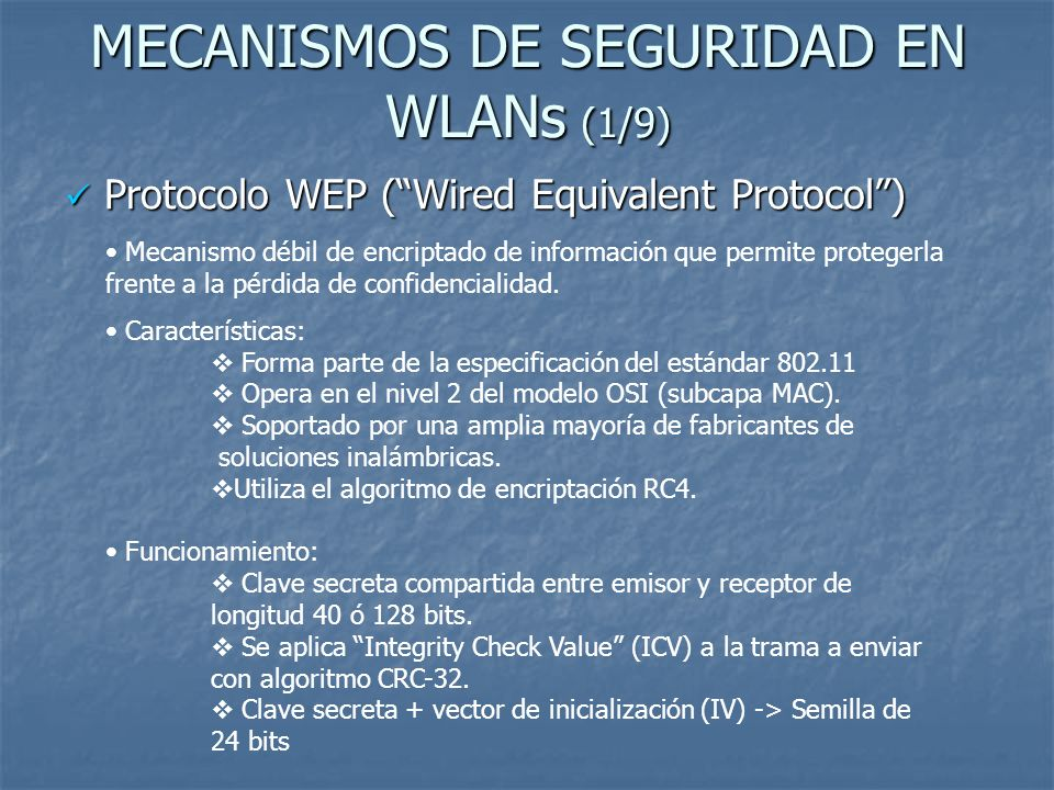 MECANISMOS DE SEGURIDAD EN WLANs (1/9)
