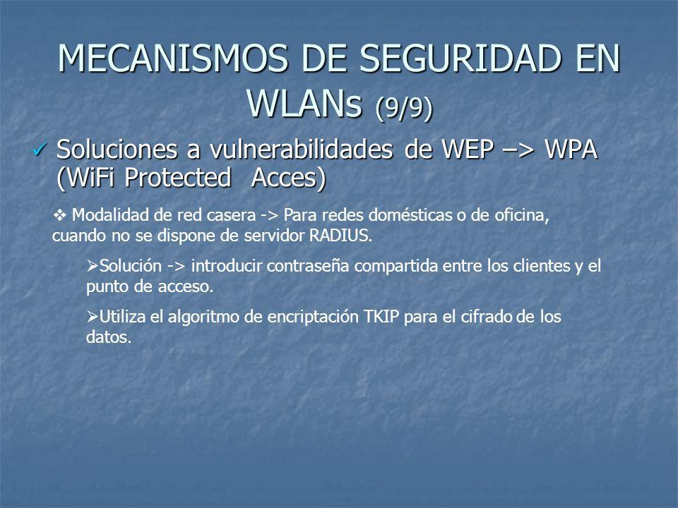 MECANISMOS DE SEGURIDAD EN WLANs (9/9)