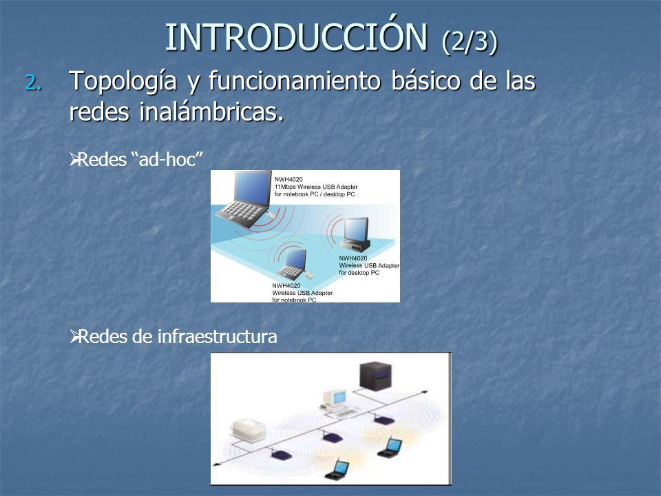 INTRODUCCIÓN (2/3) Topología y funcionamiento básico de las redes inalámbricas.