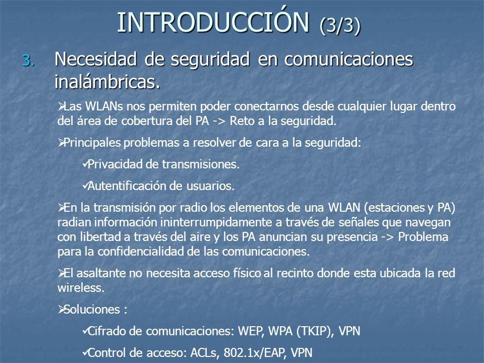 INTRODUCCIÓN (3/3) Necesidad de seguridad en comunicaciones inalámbricas.