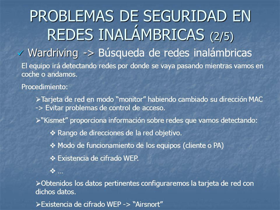 PROBLEMAS DE SEGURIDAD EN REDES INALÁMBRICAS (2/5)