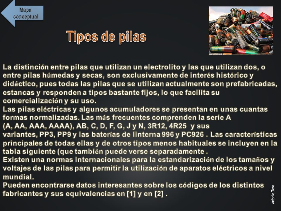 Mapa conceptual Tipos de pilas.