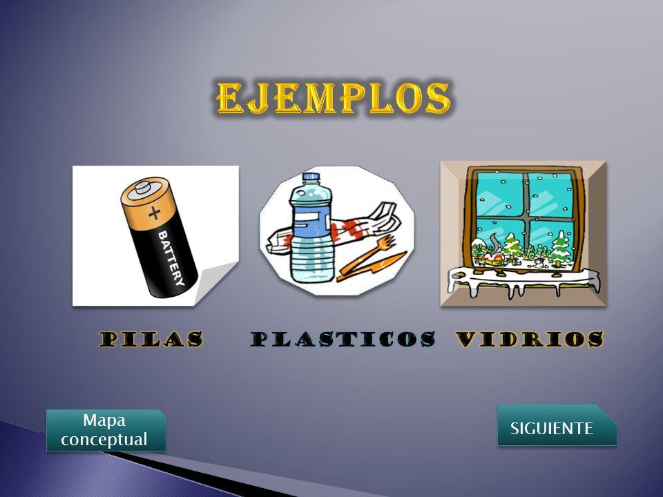 EJEMPLOS PILAS PLASTICOS VIDRIOS SIGUIENTE Mapa conceptual