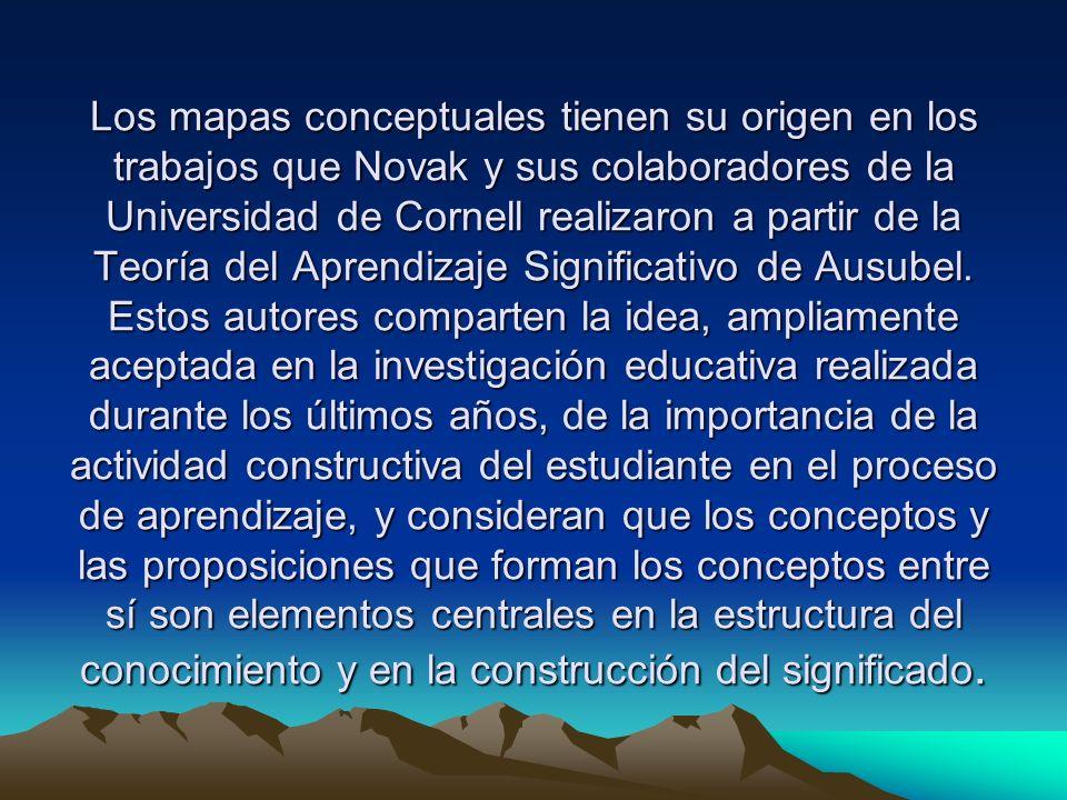 Los mapas conceptuales tienen su origen en los trabajos que Novak y sus colaboradores de la Universidad de Cornell realizaron a partir de la Teoría del Aprendizaje Significativo de Ausubel.