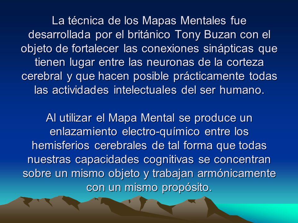 La técnica de los Mapas Mentales fue desarrollada por el británico Tony Buzan con el objeto de fortalecer las conexiones sinápticas que tienen lugar entre las neuronas de la corteza cerebral y que hacen posible prácticamente todas las actividades intelectuales del ser humano.