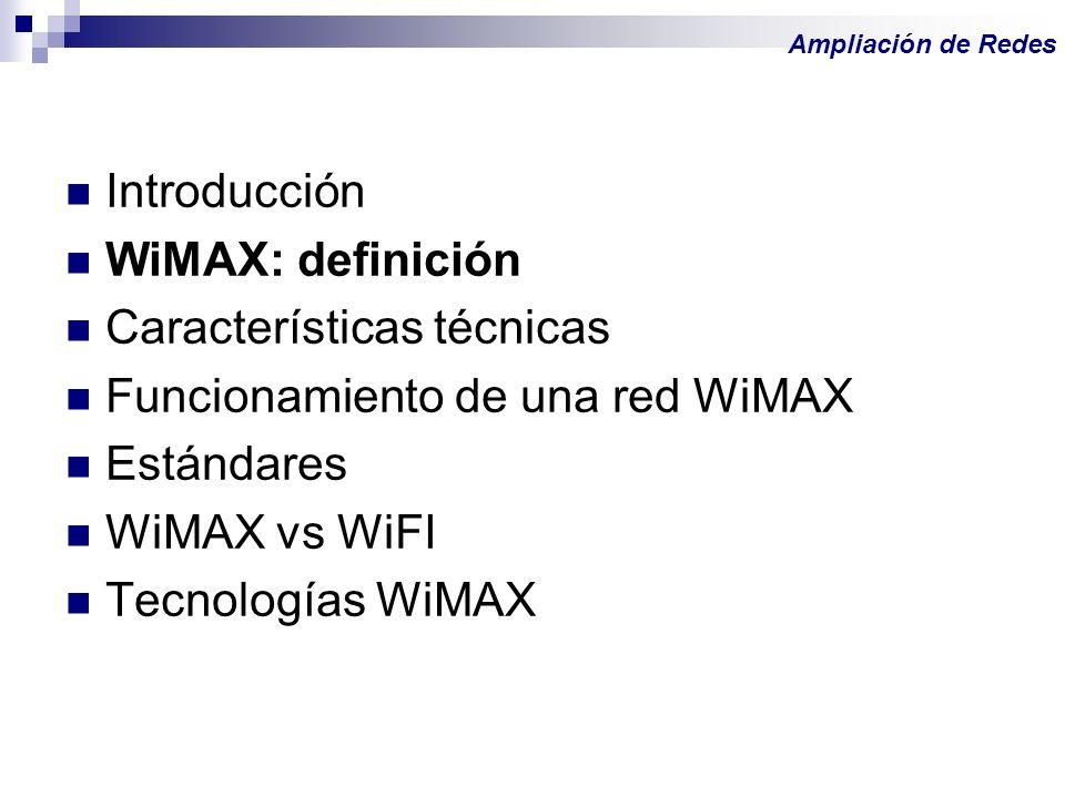 Características técnicas Funcionamiento de una red WiMAX Estándares
