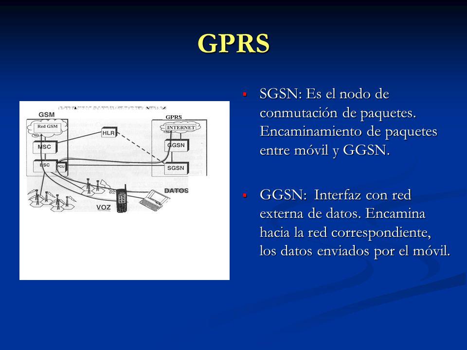 GPRS SGSN: Es el nodo de conmutación de paquetes. Encaminamiento de paquetes entre móvil y GGSN.