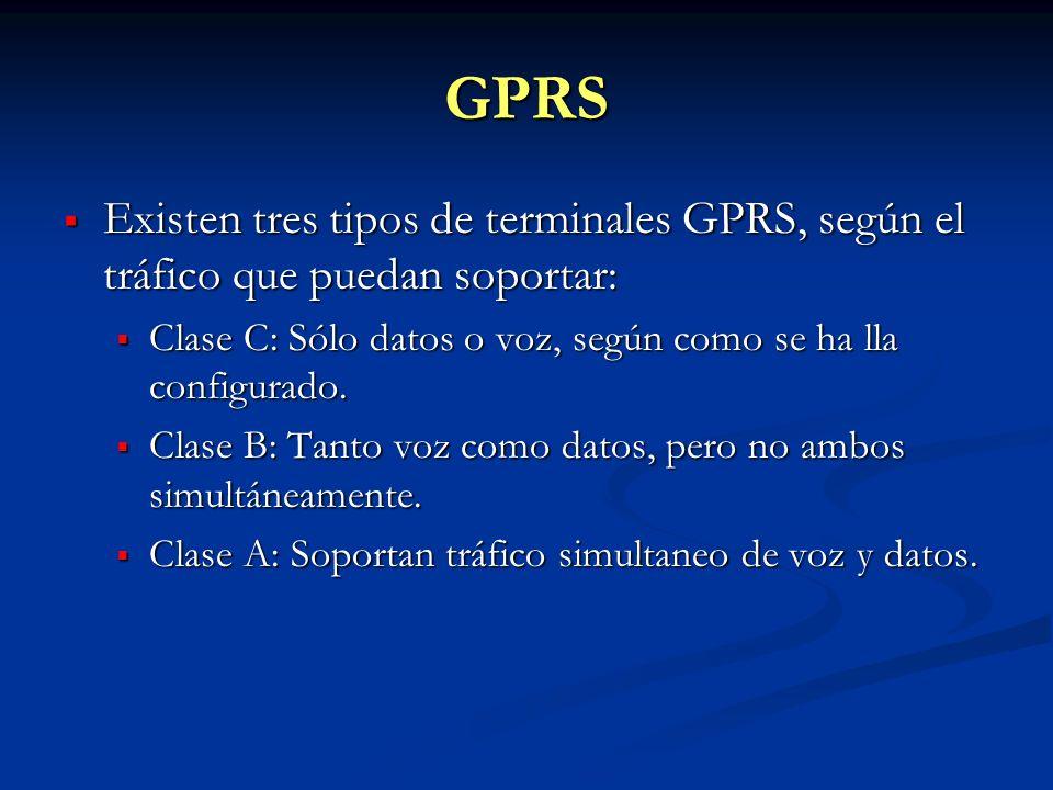 GPRS Existen tres tipos de terminales GPRS, según el tráfico que puedan soportar: Clase C: Sólo datos o voz, según como se ha lla configurado.