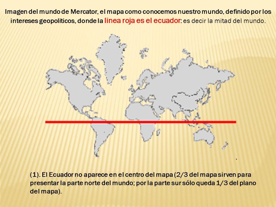 Imagen del mundo de Mercator, el mapa como conocemos nuestro mundo, definido por los intereses geopoliticos, donde la linea roja es el ecuador: es decir la mitad del mundo.