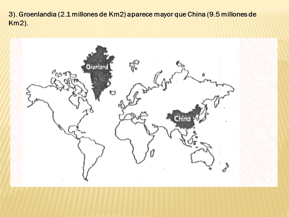 3). Groenlandia (2. 1 millones de Km2) aparece mayor que China (9