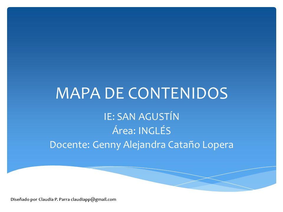 IE: SAN AGUSTÍN Área: INGLÉS Docente: Genny Alejandra Cataño Lopera