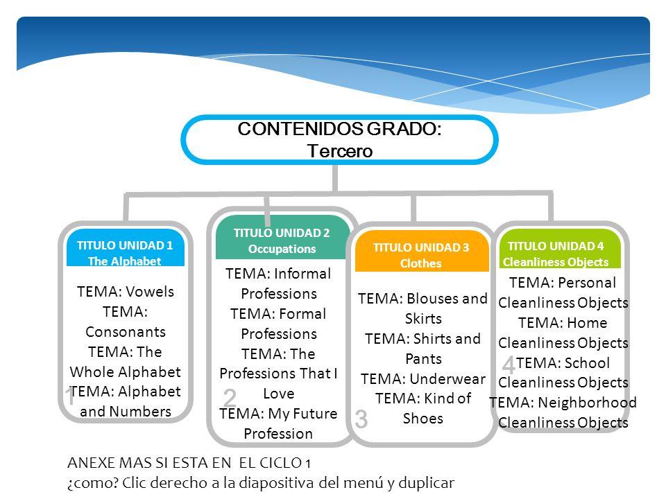 4 1 2 3 CONTENIDOS GRADO: Tercero TEMA: Informal Professions