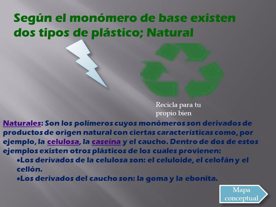 Según el monómero de base existen dos tipos de plástico; Natural