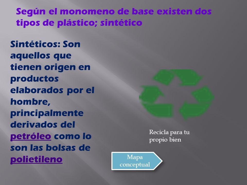 Según el monomeno de base existen dos tipos de plástico; sintético
