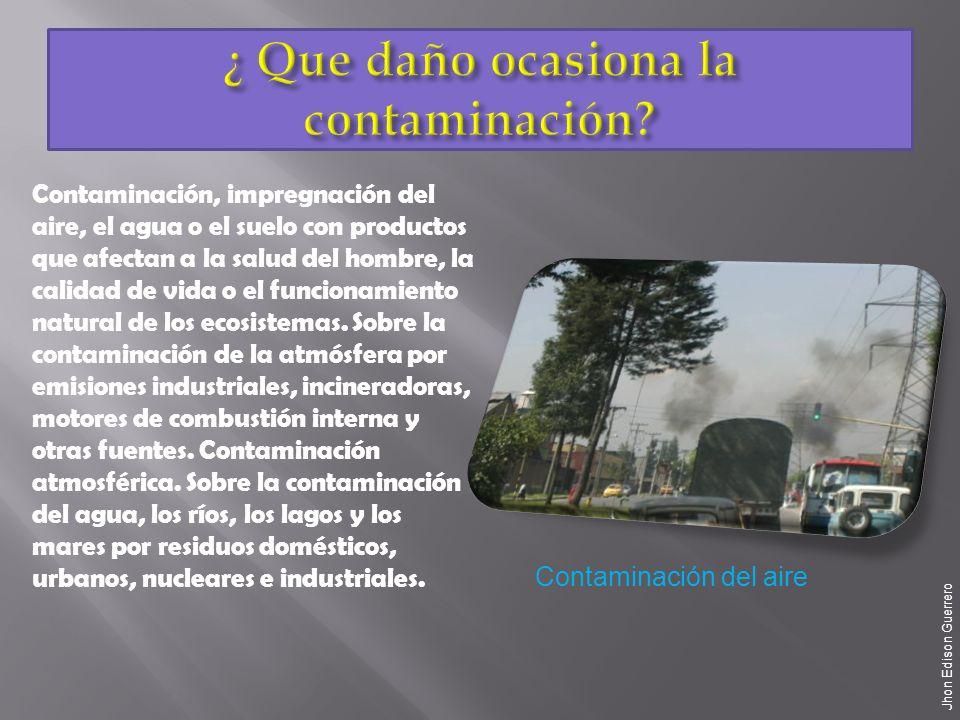 ¿ Que daño ocasiona la contaminación