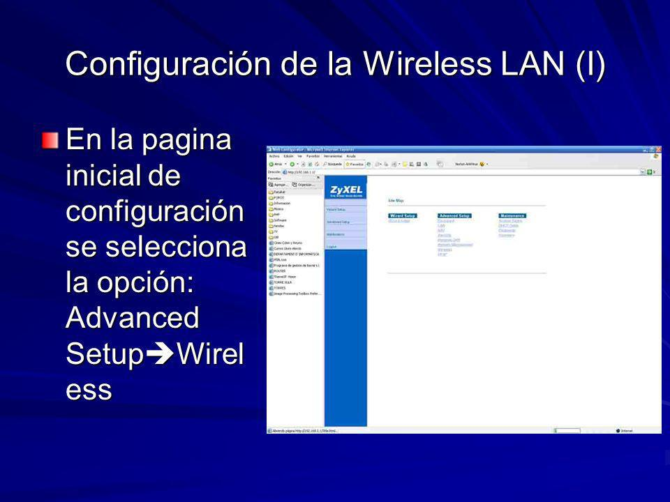 Configuración de la Wireless LAN (I)