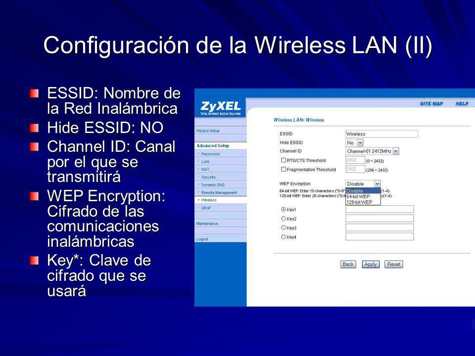 Configuración de la Wireless LAN (II)
