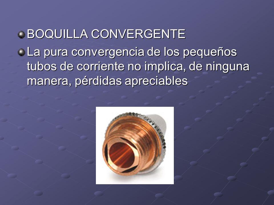 BOQUILLA CONVERGENTE La pura convergencia de los pequeños tubos de corriente no implica, de ninguna manera, pérdidas apreciables.