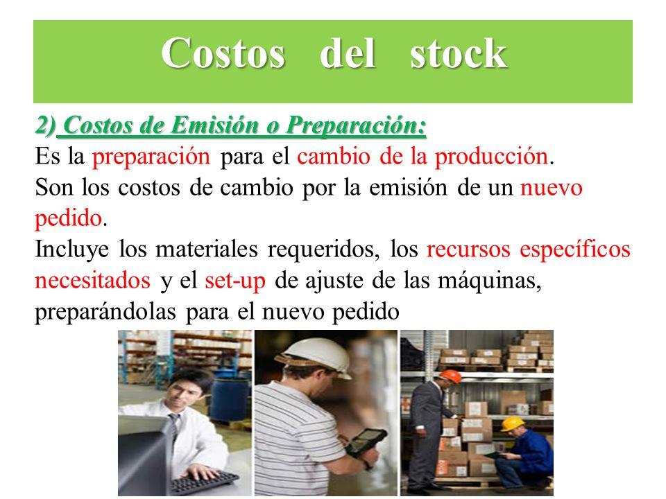 Costos del stock 2) Costos de Emisión o Preparación: