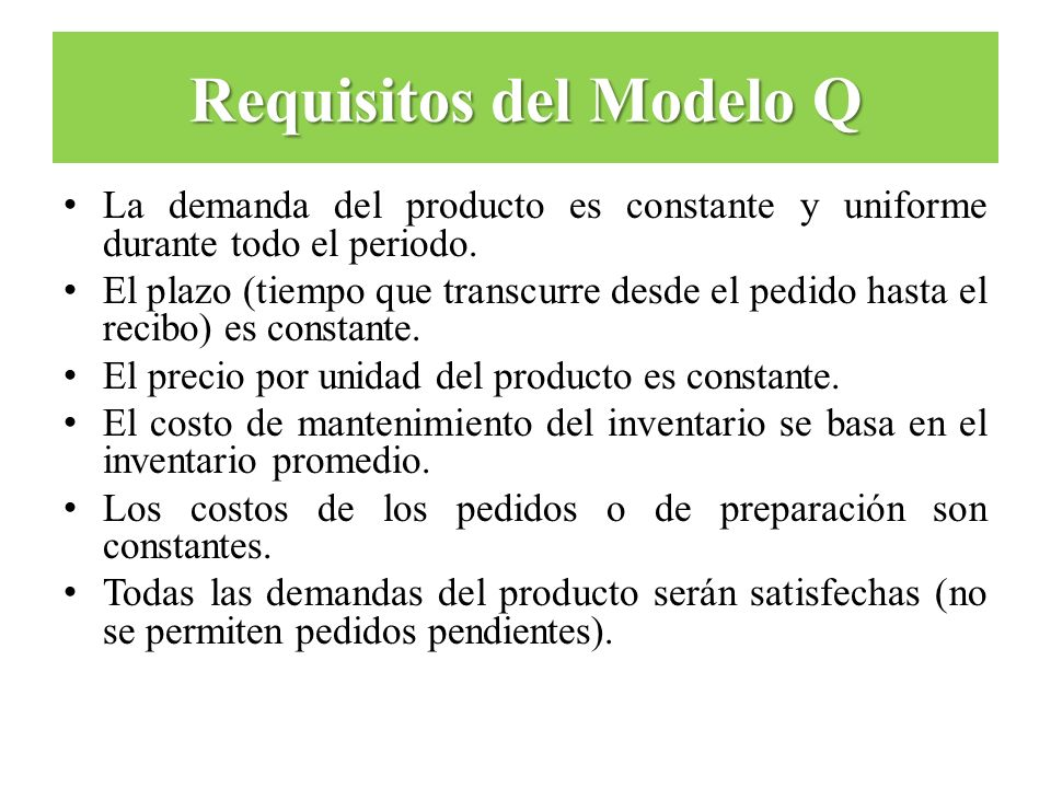 Requisitos del Modelo Q