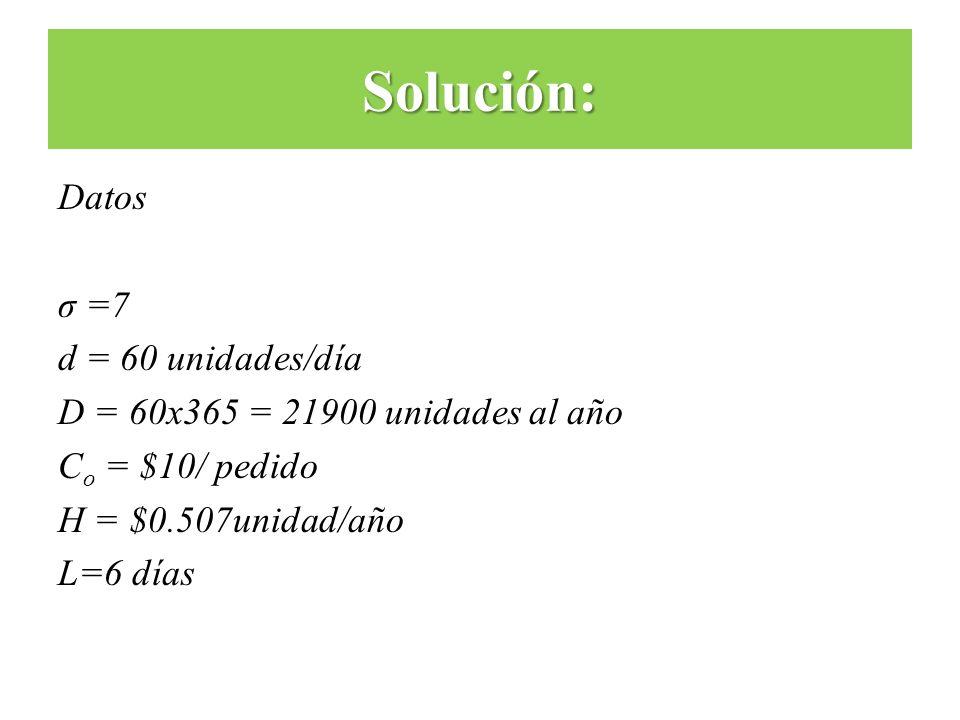 Solución: Datos σ =7 d = 60 unidades/día D = 60x365 = 21900 unidades al año Co = $10/ pedido H = $0.507unidad/año L=6 días