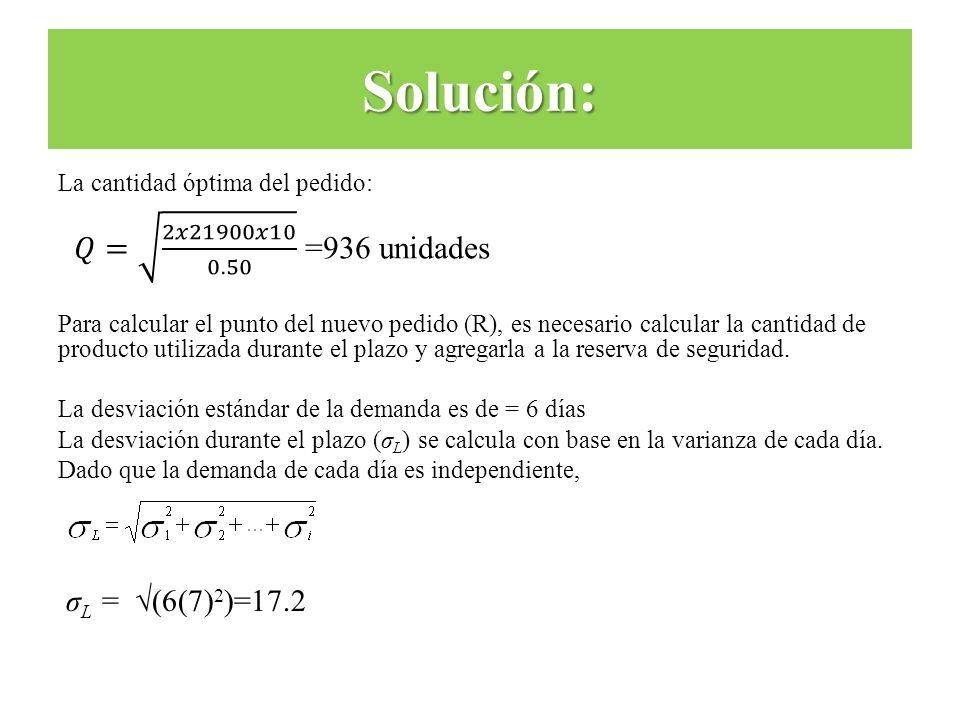 Solución: 𝑄= 2𝑥21900𝑥10 0.50 =936 unidades σL = √(6(7)2)=17.2