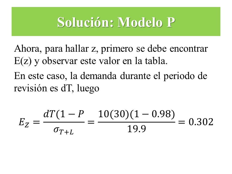 Solución: Modelo P Ahora, para hallar z, primero se debe encontrar E(z) y observar este valor en la tabla.