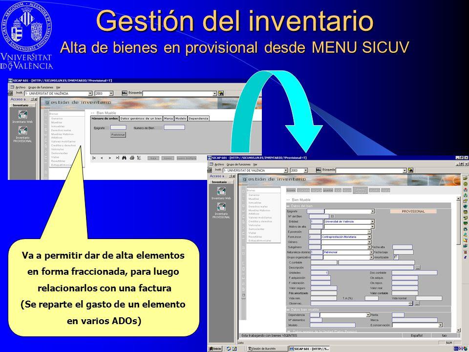 Gestión del inventario Alta de bienes en provisional desde MENU SICUV