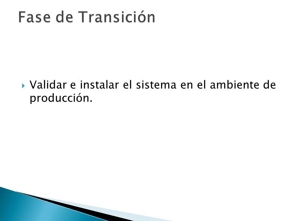 Fase de Transición Validar e instalar el sistema en el ambiente de producción.