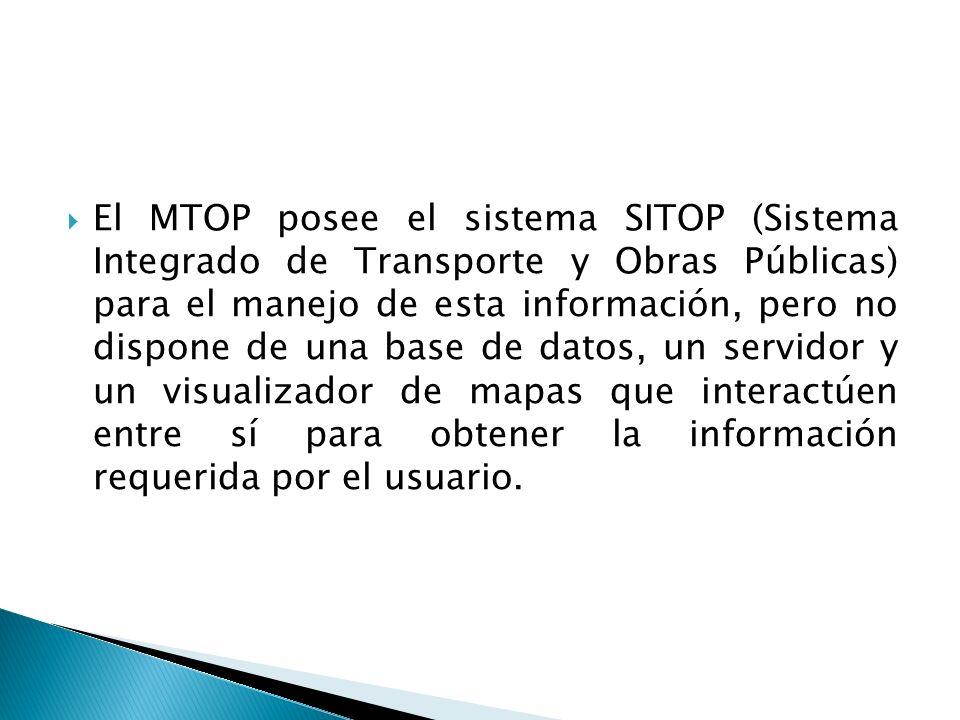 El MTOP posee el sistema SITOP (Sistema Integrado de Transporte y Obras Públicas) para el manejo de esta información, pero no dispone de una base de datos, un servidor y un visualizador de mapas que interactúen entre sí para obtener la información requerida por el usuario.