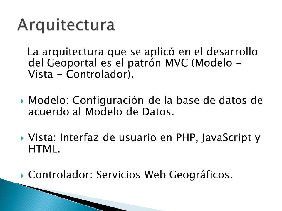 Arquitectura La arquitectura que se aplicó en el desarrollo del Geoportal es el patrón MVC (Modelo - Vista - Controlador).