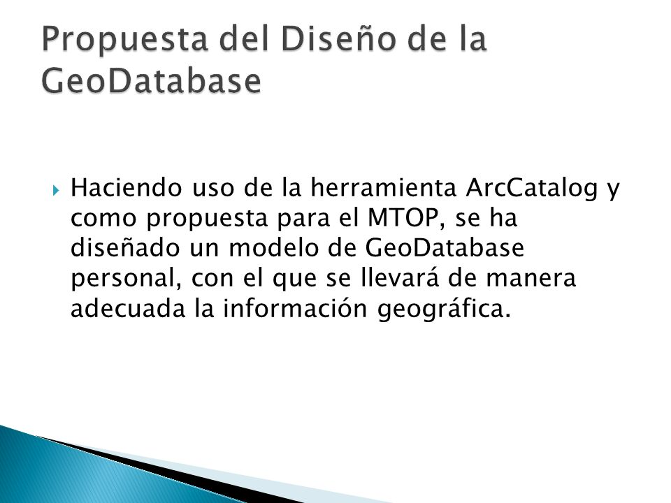 Propuesta del Diseño de la GeoDatabase