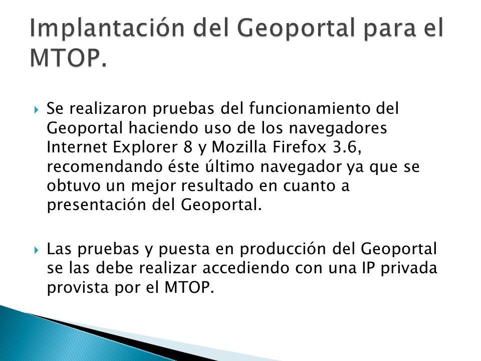 Implantación del Geoportal para el MTOP.