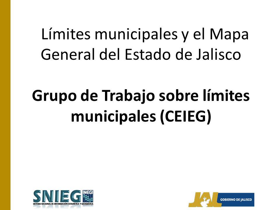 Límites municipales y el Mapa General del Estado de Jalisco