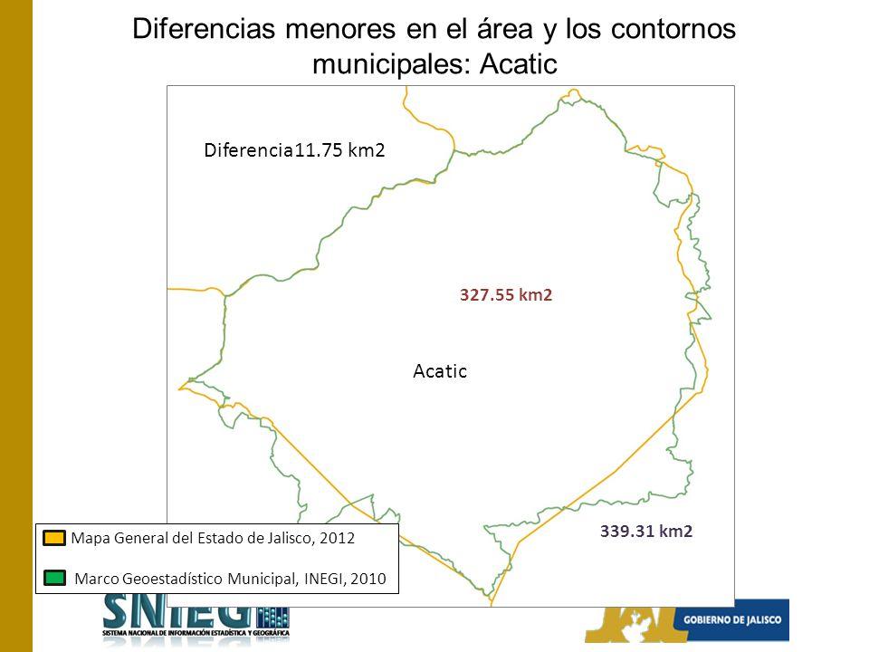 Diferencias menores en el área y los contornos municipales: Acatic