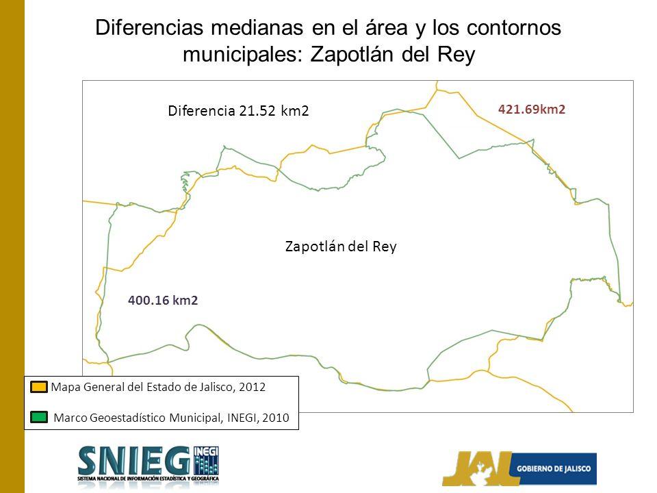 Diferencias medianas en el área y los contornos municipales: Zapotlán del Rey