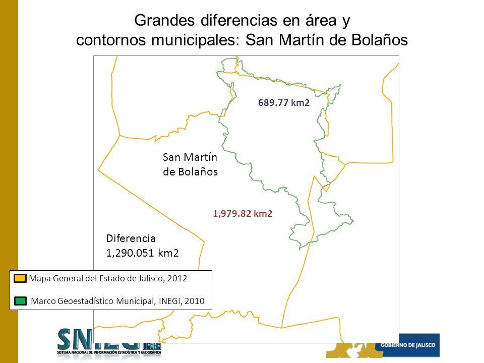 Grandes diferencias en área y contornos municipales: San Martín de Bolaños