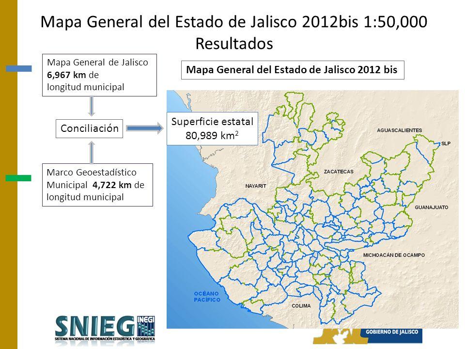 Mapa General del Estado de Jalisco 2012bis 1:50,000 Resultados