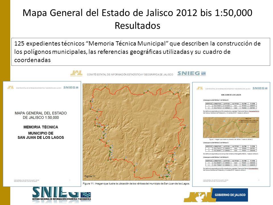 Mapa General del Estado de Jalisco 2012 bis 1:50,000 Resultados
