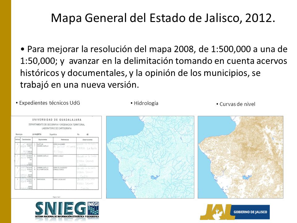 Mapa General del Estado de Jalisco, 2012.