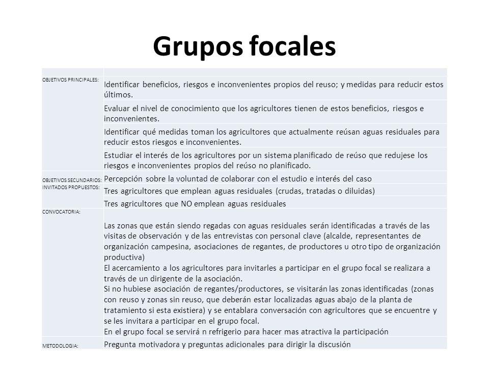 Grupos focales OBJETIVOS PRINCIPALES: Identificar beneficios, riesgos e inconvenientes propios del reuso; y medidas para reducir estos últimos.